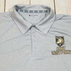 Champion Mens Golf Polo Shirt Army West Point Gray